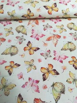 Baumwolle creme mit bunten Schmetterlingen, Timeless Treasures, Grundpreis: 19,80€/m