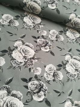 Jersey grau mit Rosen in Grautönen, Grundpreis: 17,90€/m