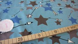 Jersey hellblau mit beige/braun/blauen Sternen und Pfeilen, Grundpreis: 15,90€/m