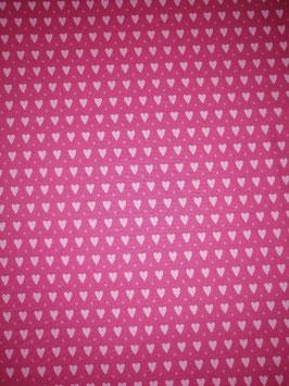 Baumwolle pink mit kleinen rosa Herzen, Grundpreis: 11,90€/m