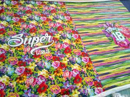 Jersey Panel bunt, Bluemn/Super Girls von Stenzo, Grundpreis: 14,90€/Stck