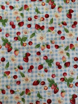 Baumwolle weiß/blau kariert mit kleinen Erdbeeren/Kirschen, Grundpreis: 12,90€/m