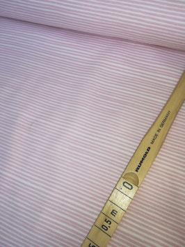 Jersey weiß mit dünnen unregelmäßige rosa Streifen, Grundpreis: 17,90€/m