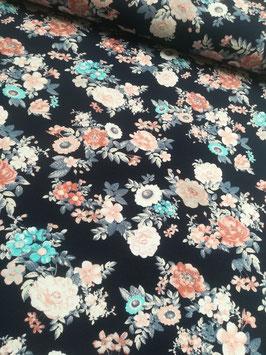 Jersey dunkelblau mit buntem Rosenbouquet, Grundpreis: 17,90€/m