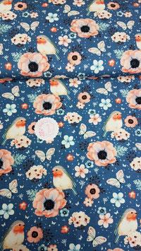 Jersey  blau mit Rotkehlchen und Blumen, Grundpreis: 17,90€/m