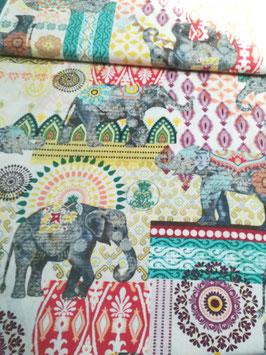 Baumwolle bunt mit bunten Ornamenten, Blumen und Elefanten, Timeless Treasures, Grundpreis: 19,80€/m
