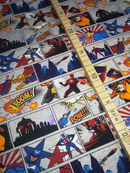 Jersey hellgrau meliert, Superhelden, Comic, Grundpreis: 18,90€/m