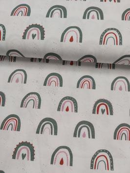 Jersey weiß mit Regenbögen in rosa/dunkelmint/rost, Grundpreis: 16,90€/m