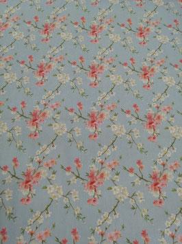 Baumwolle hellblau mit Kirschblüten, Grundpreis: 12,90€/m