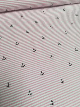 Jersey rosa/weiß gestreift mit kleinen Ankern, Grundpreis: 16,90€/m