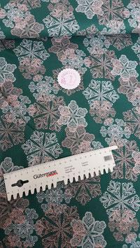 Baumwolle petrol mit Kristallen in rosa und weiß, Klaranähta, Grundpreis: 12,99€/m