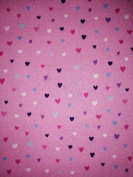 Baumwolle lila mit bunten Herzen, Grundpreis: 11,90€/m