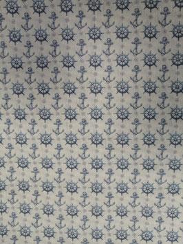 Baumwolle creme mit hellblauen Ankern und Steuerrädern, Grundpreis: 11,90€/m
