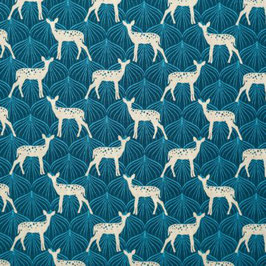 Baumwolle blau mit Rehen, Klaranähta, Grundpreis: 12,99€/m