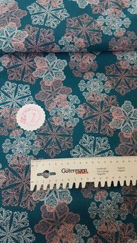 Baumwolle blau mit Kristallen in rosa und weiß, Klaranähta, Grundpreis: 12,99€/m
