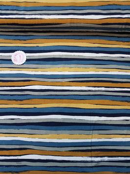 Jersey unregelmäßige Streifen in blau/senf/weiß, Grundpreis: 18,90€/m