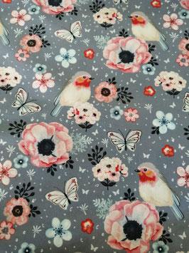 Baumwolle grau mit Rotkehlchen und Blumen, Grundpreis: 13,90€/m