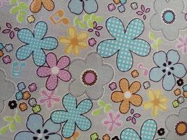 Baumwolle hellgrau mit bunten Blumen, Grundpreis: 12,90€/m