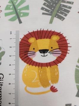 Jersey weiß mit süßen Löwen in senf/dunkelmint/rost, Grundpreis: 16,90€/m