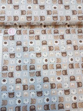 Jersey hellgrau mit Bären in Erdtönen, Grundpreis: 18,90€/m