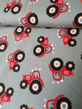 Jersey hellgrau mit roten Traktoren, Grundpreis: 16,90€