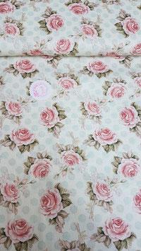 Baumwolle in creme mit Rosen und mintfarbenen Punkten, Grundpreis: 13,90€/m