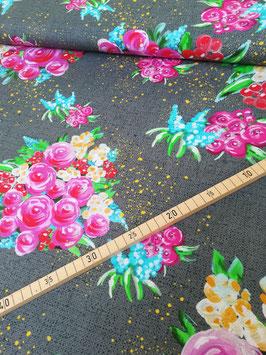 Jersey  Smell of Flowers, grauer Jersey mit tollem leuchtenden Blumenarrangement, Grundpreis: 22,00€/m
