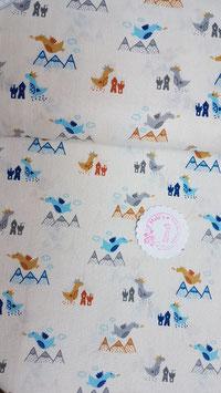 Baumwolle hellcreme mit bunten Drachen und Bergen, Grundpreis: 9,90€/m