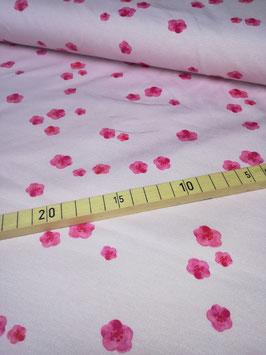 Jersey hellrosa mit pinken Blümchen, Grundpreis: 16,90€/m