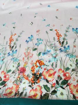 Baumwolle Panel, hellrosa mit bunten Blumen von Swafing, Grundpreis: 23,75€/m