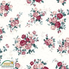 Jersey weiß mit Rosen-Blumenbouquet, Grundpreis: 18,90€/m