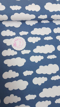 Jersey blau mit weißen Wolken von Swafing, Grundpreis: 15,90€/m