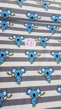 Jersey  grau-weiß gestreift mit blauen Koalas , Grundpreis: 16,90€/m