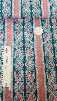 Baumwolle bunt mit Ornamenten in altrosa/petrol/pink/hellblau, Klaranähta, Grundpreis: 12,99€/m