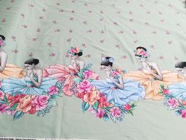 Jersey mint mit wunderschönen bunten Ballerinas und Blumen von Stenzo, Grundpreis: 18,90€/m