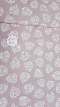 Dekostoff rosa mit weißen Blättern, Grundpreis: 14,90€/m