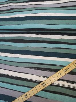 Jersey unregelmäßige Streifen in blautönen, Grundpreis: 17,90€/m
