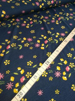 Modal, dunkelblau mit bunten Blumen, Blumenkind, Lillestoff, Grundpreis: 21,00€/m