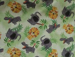 Baumwolle creme mit Löwe/Nilpferd/Elefant und Palmen, Grundpreis: 18,90€/m