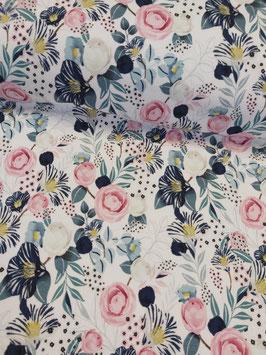 Leichter Sweat in weiß mit pastellfarbenen Blumen, Fräulein von Julie,  Grundpreis: 19,90€/m