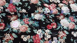 Viskose Jersey schwarz mit bunten Blumen, Grundpreis: 15,90€/m