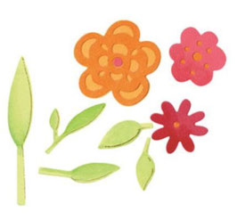 "Sizzix Sizzlits Die Set 3PK, ""Flowers & Leaves Set"""