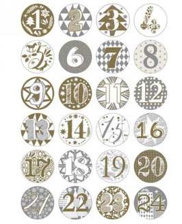 Adventskalender Buttons, Gold/Silber