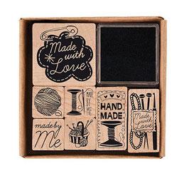 Holzstempelset Handmade