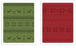 """Sizzix Textured Impressions Embossing Folders, """"Holiday Knit Set"""""""