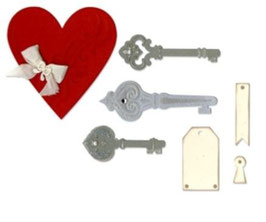 "Sizzix Thinlits Die, ""Heart, Keys & Tags"""