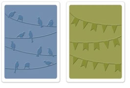"""Sizzix Textured Impressions Embossing Folders, """"Birds & Banners Set"""""""