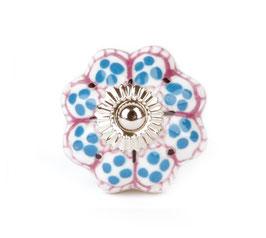 Möbelknopf A20, Petunie, blau/rosa