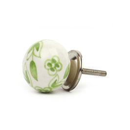 Möbelknopf A14, floral weiss/grün