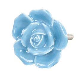 Möbelknopf Rose hellblau 61867